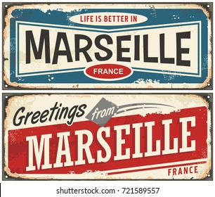 Greetings from Marseille France vintage signs set. Life is better in Marseille retro travel souvenirs.