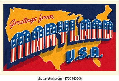 Greetings from Maryland USA. Retro postcard with patriotic stars and stripes lettering and United States map in the background. Vector illustration.