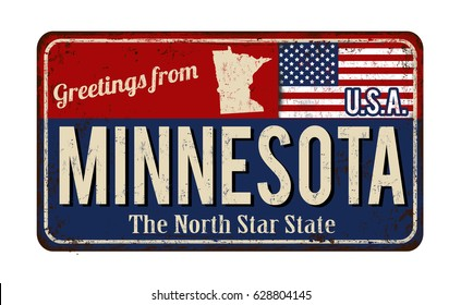 Greetings from Minnesota vintage rusty metal sign on a white background, vector illustration