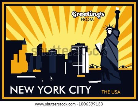 Greetings new york city usa vector stock vector royalty free greetings from new york city the usa vector postcard m4hsunfo