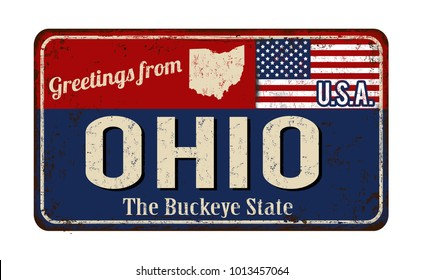 Greetings from Ohio vintage rusty metal sign on a white background, vector illustration
