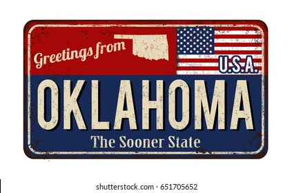 Greetings from Oklahoma vintage rusty metal sign on a white background, vector illustration