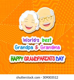 Greetings on grandparents day with the phrase and face of grandfather and grandmother on a yellow background in a patchwork style