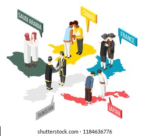 Greetings of people from saudi arabia congo france japan and tajikistan isometric composition 3d vector illustration