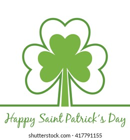 Greetings for Saint Patrick´s Day. Shamrock outline. Happy Saint Patrick´s Day