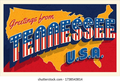 Greetings from Tennessee USA. Retro postcard with patriotic stars and stripes lettering and United States map in the background. Vector illustration.