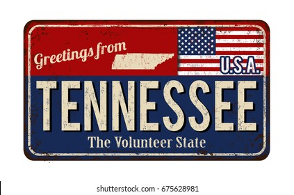 Greetings from Tennessee vintage rusty metal sign on a white background, vector illustration
