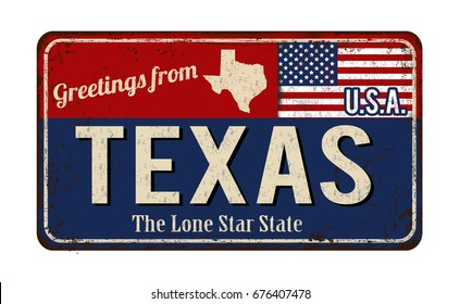 Greetings from Texas vintage rusty metal sign on a white background, vector illustration