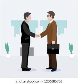 Greetings Two businessmen. negotiations. Done deal. vector concept
