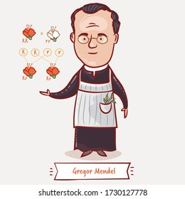 Gregor Mendel and his experiment with pea plants. An Austrian monk and a scientist who laid the foundations of genetics. Famous people who changed the world.