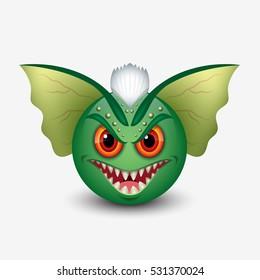 Gremlin emoticon, smiley, emoji - vector illustration