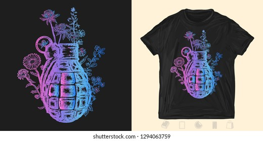Grenade and flowers. Print for t-shirts and another, trendy apparel design. Symbol of weapon, war and peace, good and evil