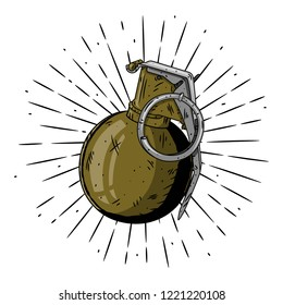 Grenade. Hand drawn vector illustration with a grenade and divergent rays. Used for poster, banner, web, t-shirt print, bag print, badges, flyer, logo design and more.