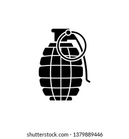 Grenade Icon. Explosive Weapon Illustration As A Simple Vector Sign & Trendy Symbol for Design and Military Websites, Presentation or Application.