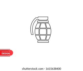 grenade line icon with modern design, isolated on white background. flat style for graphic design template. suitable for logo, web, UI, mobile app. vector illustration