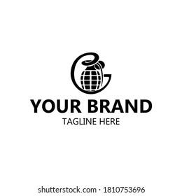 grenade logo in black and letter G. symbol