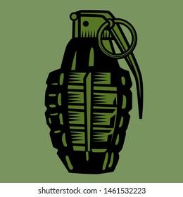 Grenade logo design for tshirt, badge, hat, patch etc