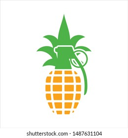 Grenade and Pineapple icon. Vector logo.