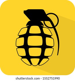 Grenade sign. Hand bomb. Armoury. Military grade. Throwing explosive logo. Dangerous. Flat 3D shadow design. yellow background black vector. product brand service label banner board display. App icon.
