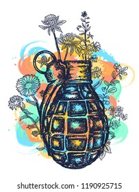 Grenade tattoo and t-shirt design. Symbol of weapon, war and peace, good and evil, art