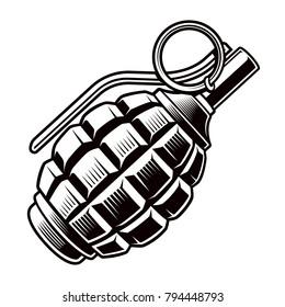 Grenade vector black and white illustration.