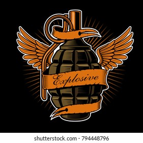 Grenade with wings. Tattoo art, shirt graphic. All elements, color, text are on the separate layers.