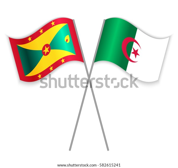 Grenadian and Algerian crossed flags. Grenada combined with Algeria isolated on white. Language learning, international business or travel concept.