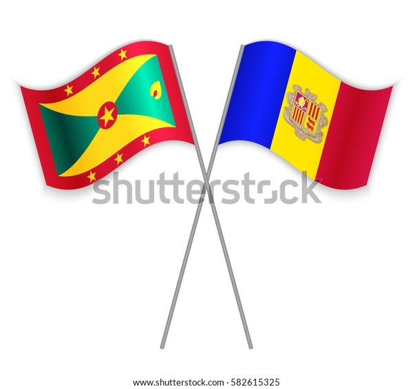 Grenadian and Andorran crossed flags. Grenada combined with Andorra isolated on white. Language learning, international business or travel concept.