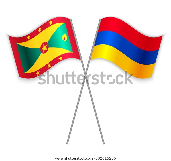 Grenadian and Armenian crossed flags. Grenada combined with Armenia isolated on white. Language learning, international business or travel concept.