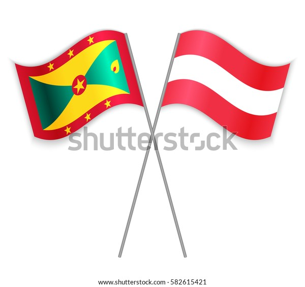 Grenadian and Austrian crossed flags. Grenada combined with Austria isolated on white. Language learning, international business or travel concept.