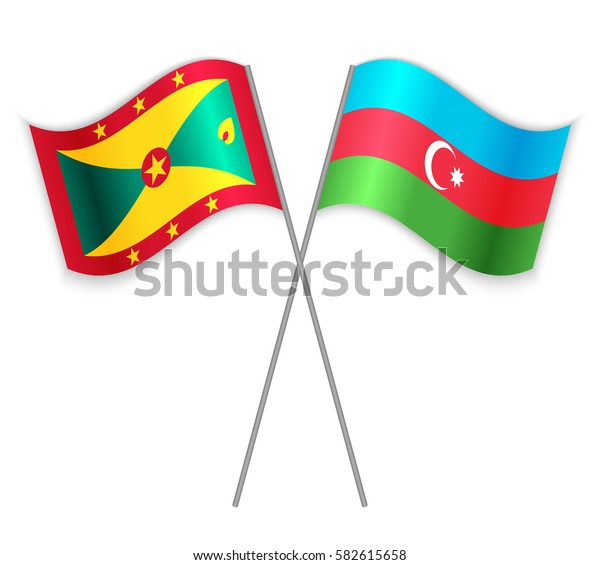 Grenadian and Azerbaijani crossed flags. Grenada combined with Azerbaijan isolated on white. Language learning, international business or travel concept.