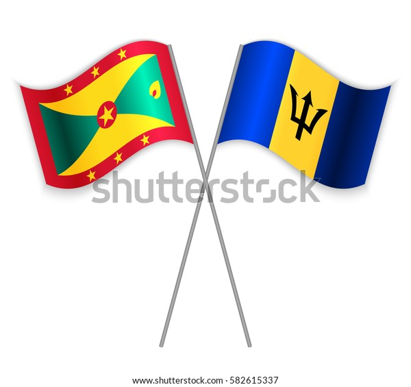 Grenadian and Barbadian crossed flags. Grenada combined with Barbados isolated on white. Language learning, international business or travel concept.