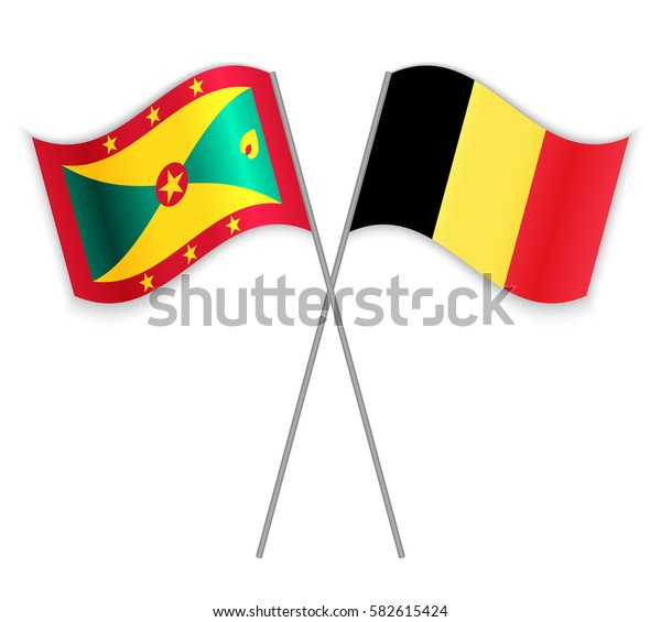 Grenadian and Belgian crossed flags. Grenada combined with Belgium isolated on white. Language learning, international business or travel concept.