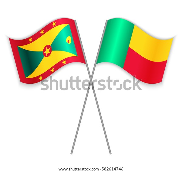 Grenadian and Beninese crossed flags. Grenada combined with Benin isolated on white. Language learning, international business or travel concept.
