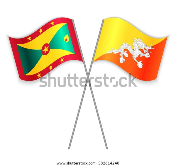 Grenadian and Bhutanese crossed flags. Grenada combined with Bhutan isolated on white. Language learning, international business or travel concept.