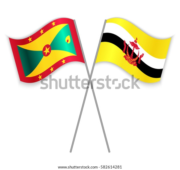 Grenadian and Bruneian crossed flags. Grenada combined with Brunei isolated on white. Language learning, international business or travel concept.