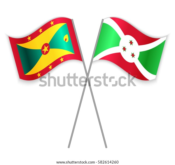 Grenadian and Burundian crossed flags. Grenada combined with Burundi isolated on white. Language learning, international business or travel concept.