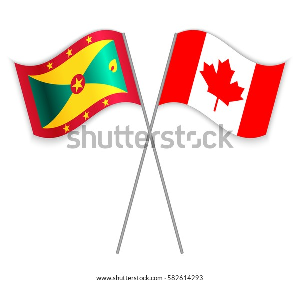 Grenadian and Canadian crossed flags. Grenada combined with Canada isolated on white. Language learning, international business or travel concept.