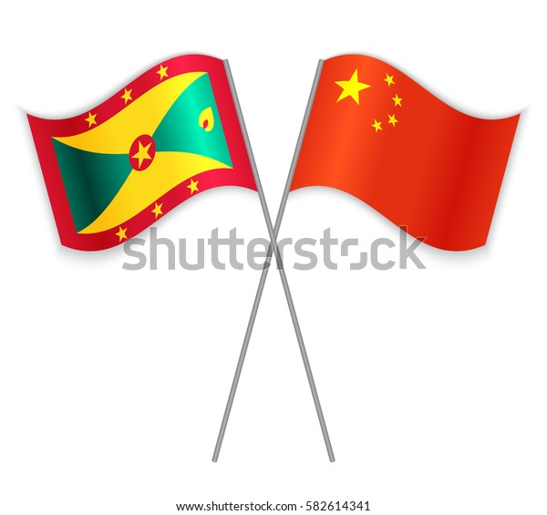 Grenadian and Chinese crossed flags. Grenada combined with China isolated on white. Language learning, international business or travel concept.