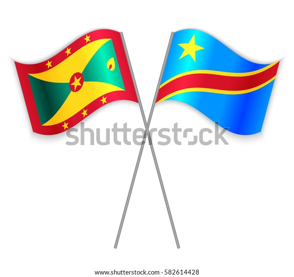 Grenadian and Congolese crossed flags. Grenada combined with Democratic Republic of the Congo isolated on white. Language learning, international business or travel concept.