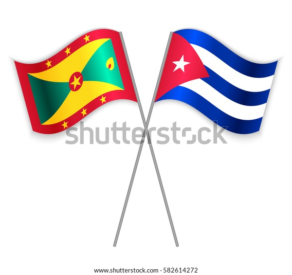 Grenadian and Cuban crossed flags. Grenada combined with Cuba isolated on white. Language learning, international business or travel concept.