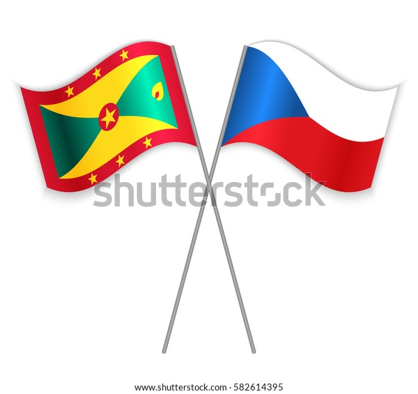 Grenadian and Czech crossed flags. Grenada combined with Czech Republic isolated on white. Language learning, international business or travel concept.