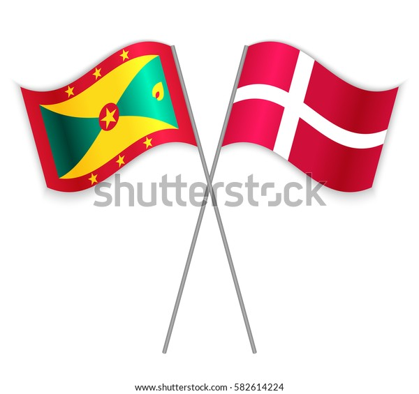 Grenadian and Danish crossed flags. Grenada combined with Denmark isolated on white. Language learning, international business or travel concept.