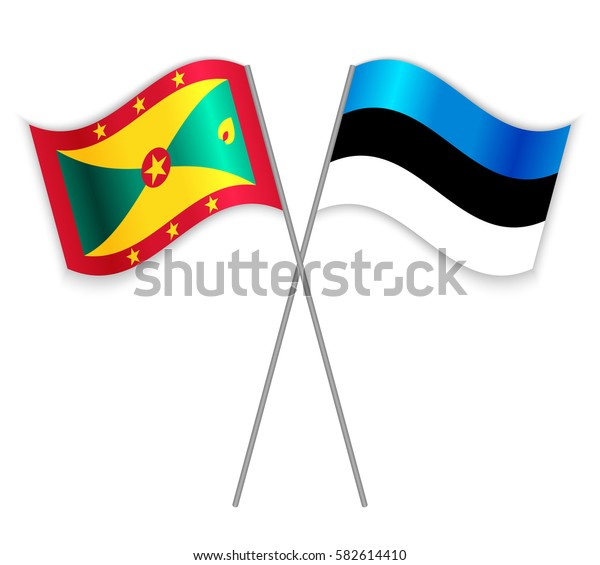 Grenadian and Estonian crossed flags. Grenada combined with Estonia isolated on white. Language learning, international business or travel concept.