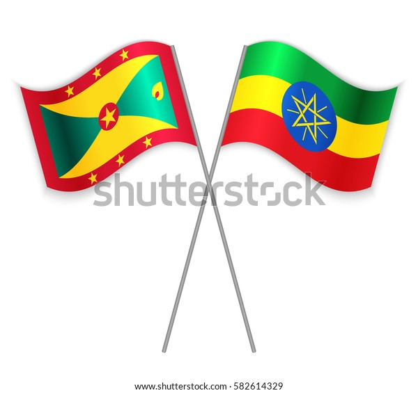 Grenadian and Ethiopian crossed flags. Grenada combined with Ethiopia isolated on white. Language learning, international business or travel concept.