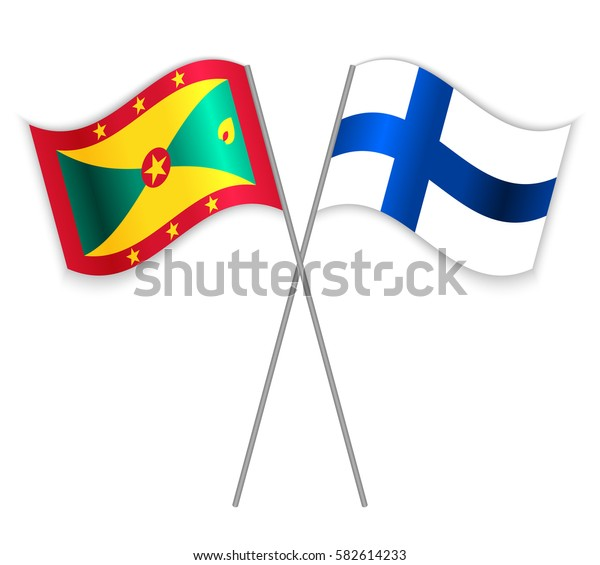 Grenadian and Finnish crossed flags. Grenada combined with Finland isolated on white. Language learning, international business or travel concept.