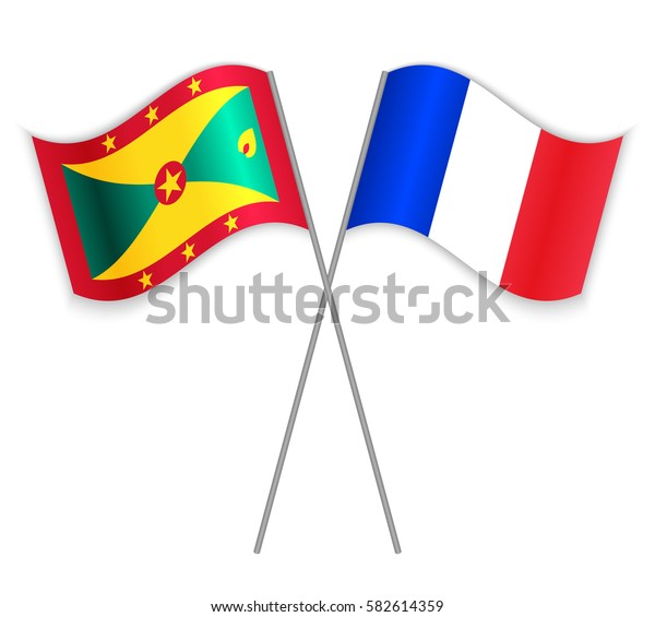 Grenadian and French crossed flags. Grenada combined with France isolated on white. Language learning, international business or travel concept.