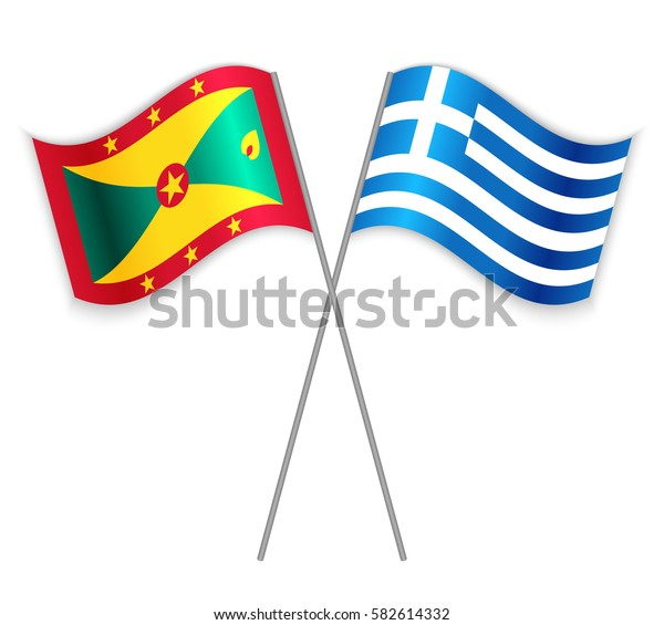 Grenadian and Greek crossed flags. Grenada combined with Greece isolated on white. Language learning, international business or travel concept.