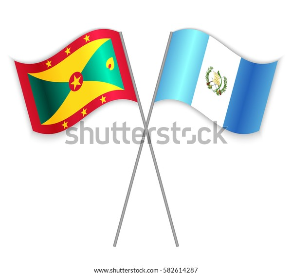 Grenadian and Guatemalan crossed flags. Grenada combined with Guatemala isolated on white. Language learning, international business or travel concept.