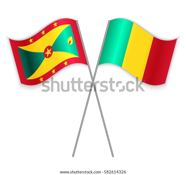 Grenadian and Guinean crossed flags. Grenada combined with Guinea isolated on white. Language learning, international business or travel concept.